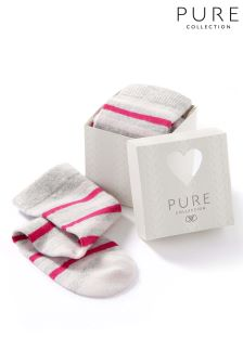 Pure Collection Pink Stripe Toccato Sock In A Box