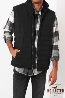 Hollister Black Sherpa Lined Gilet