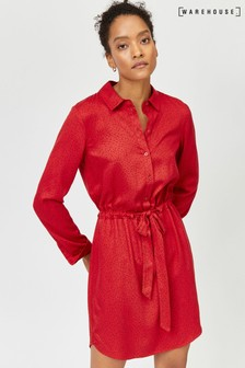 שמלת חולצה עם הדפס אותיות של Warehouse בצבע אדום