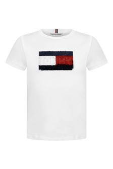 Girls White Cotton Sequins Flag T-Shirt