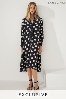 Mix/Natasha Zinko Spot Print Silk Dress
