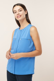 Sleeveless Pocket Front Top