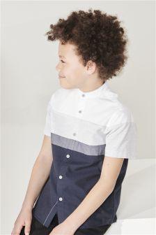 Short Sleeve Fin Collar Colourblock Shirt (3-16yrs)