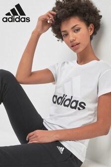 adidas White Essential Linear Tee