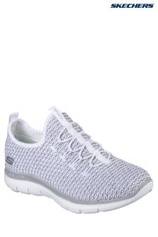 Skechers® White Knit Vamp Bungee Slip-On With Air Cooled Memory Foam