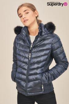 Куртка с шевронным рисунком и с искусственным мехом на капюшоне Superdry Luxe Fuji