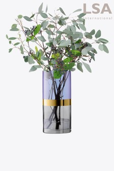 LSA International Vase mit goldfarbenem Band, blau