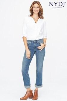 NYDJ Mid Denim Marilyn Straight Ankle Jean With Roll Cuff