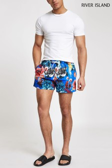 River Island Bright Blue Ocean Print Swim Short