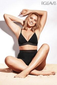 Figleaves Black Icon Cara High Waisted Shaping Bikini Brief