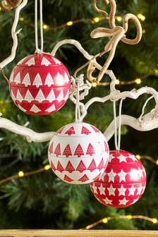 Set of 3 Festive Spice Tin Bauble Candles