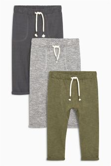Textured Lightweight Joggers Three Pack (3mths-6yrs)