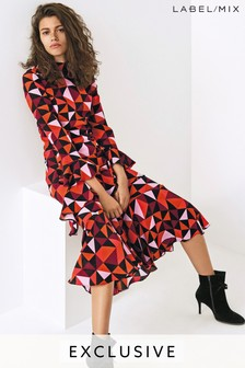 Mix/Isa Arfen Silk Geo Print Ruffle Dress