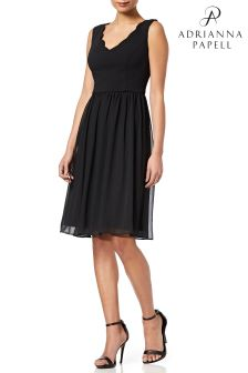 Adrianna Papell Black  Knit Crepe Scalloped Fit And Flare Dress