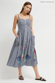 French Connection Blue Lavande Gingham Dress With Pockets
