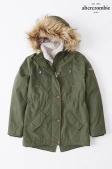 Abercrombie & Fitch Olive 3-In-1 Parka Coat