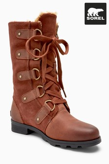Sorel® Brown Leather Emelie Lace-Up Boot