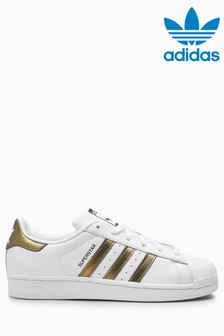 adidas Originals White/Gold Superstar Trainers