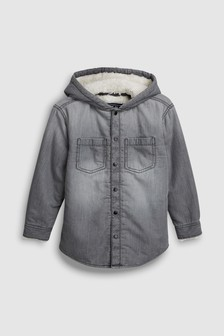 Long Sleeve Hooded Shirt With Borg Lining (3-16yrs)