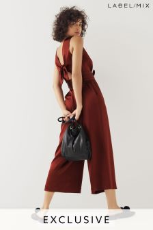 Mix/Isa Arfen Tie Back Satin Jumpsuit