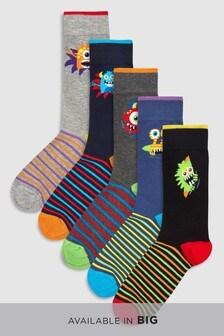 Monster Pattern Socks Five Pack