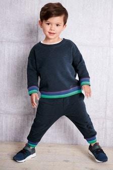 Джемпер с разноцветными полосками на манжетах и трикотажные брюки (комплект) (3 мес.-7 лет)