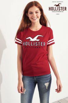Hollister gestreiftes Logo Tech T-Shirt