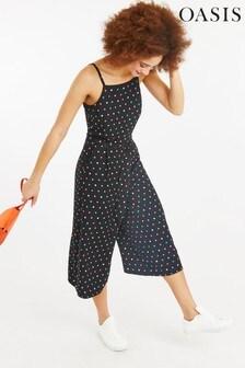 Oasis Black Multi Spot Jumpsuit