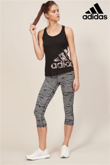 adidas Black And White Stripe Capri