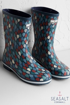 Seasalt Grey Deck Wellies Lino Drops Granite