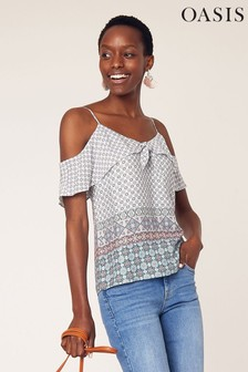 Oasis Blue Tile Patched Tie Cami
