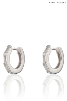 Mint Velvet Rhodium Plated Huggie Earrings