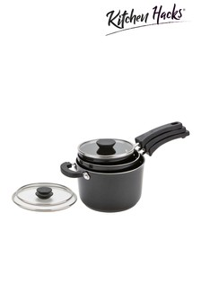 Set of 3 Kitchen Hacks Stacking Saucepans