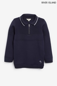 River Island Blue Ottoman Blocked Long Sleeve Polo Shirt