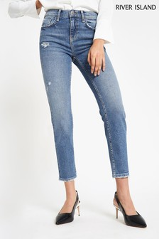 River Island Mid Washed Cropped Flare Jean