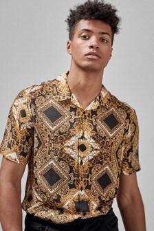 Baroque Print Short Sleeve Shirt