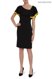 Gina Bacconi Black Prima Crepe Dress
