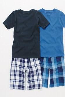 Gewebte Pyjamas in Doppelpack, kariert (3-16yrs)
