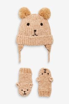 2件鋪毛飛行帽和連指手套套裝 (小)