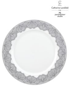 Set of 4 Silver Lace Dinner Plates