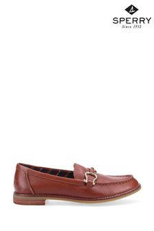 Sperry Tan Seaport Penny Plushwave Shackle Loafers