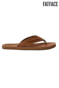 FatFace Tan Burcott Plaited Leather Flip Flops