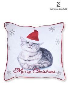 Catherine Lansfield Merry Christmas Cat Cushion