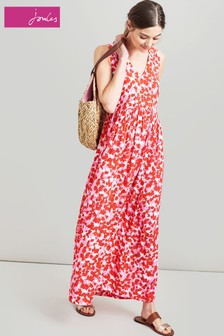 Joules Pink Anastasia Sleeveless Woven Maxi Dress
