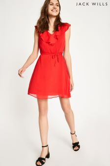 Jack Wills Red Hartstop Frill Dress