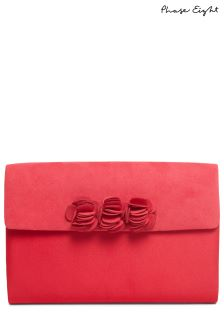 Phase Eight Raspberry Ophelia Flower Trim Clutch Bag