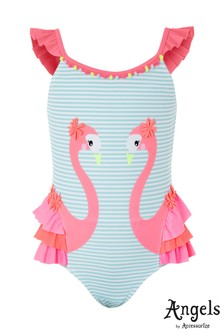 Angels by Accessorize Pink Felicity Flamingo Frill Swimsuit
