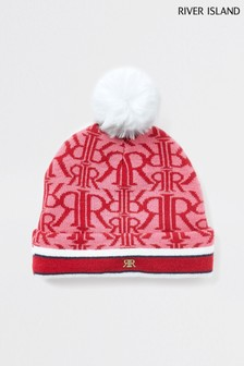 River Island Red MG Drenched Monogram Beanie
