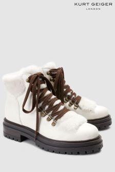 Kurt Geiger London White Leather Regent Faux Fur Hiker Boot