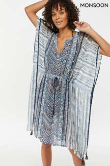 Monsoon Ladies Blue Amy Geo Kaftan